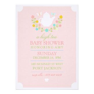 Pink High Tea Baby Shower Invitation