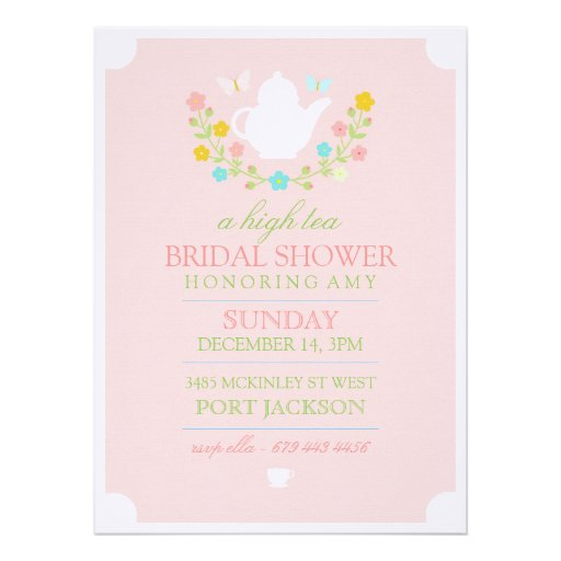 Pink High Tea Bridal Shower Invitation