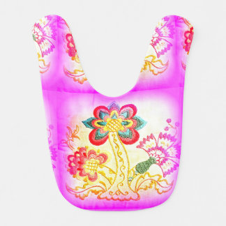 pink hippie style palm tree baby bib