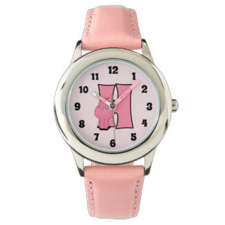 "Pink Hippo Monogrammed ""H"" Girls Watch"