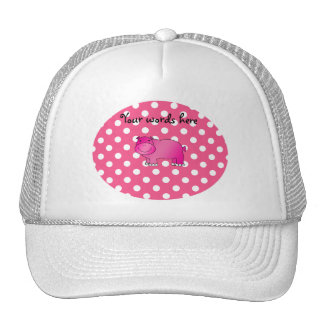 Pink hippo pink polka dots trucker hat