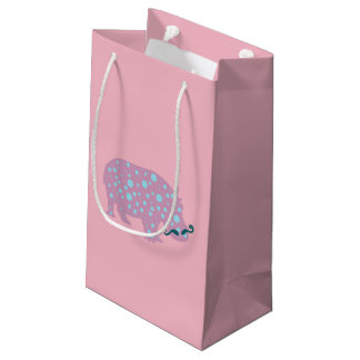 Pink Hippopotamus Moustache Gift Bag