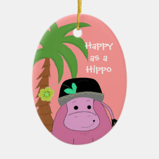 Pink Hippopotamus with a Palm Tree Ceramic Ornament