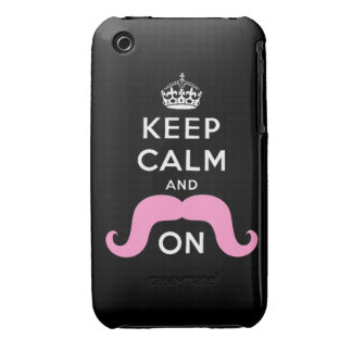 Pink Hipster Mustache Keep Calm Carry On Case-Mate iPhone 3 Cases