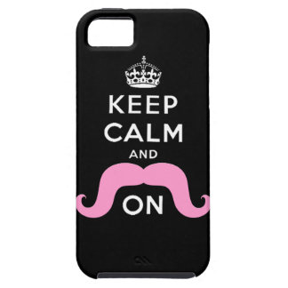 Pink Hipster Mustache Keep Calm Carry On iPhone 5 Case