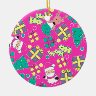 Pink - Ho Ho Santa Ceramic Ornament