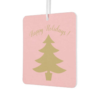 Pink Holiday car air freshener with gold Xmas tree