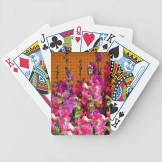 PINK HOLLYHOCK AMBER COLOR GARDEN BICYCLE PLAYING CARDS