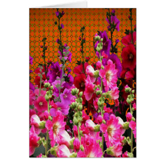PINK HOLLYHOCK AMBER COLOR GARDEN CARD