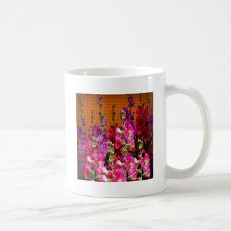PINK HOLLYHOCK AMBER COLOR GARDEN COFFEE MUG