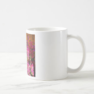 PINK HOLLYHOCK AMBER COLOR GARDEN COFFEE MUG