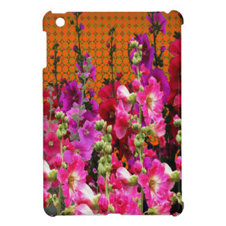 PINK HOLLYHOCK AMBER COLOR GARDEN iPad MINI COVER
