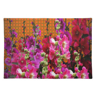 PINK HOLLYHOCK AMBER COLOR GARDEN PLACEMAT