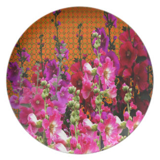 PINK HOLLYHOCK AMBER COLOR GARDEN PLATE
