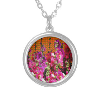 PINK HOLLYHOCK AMBER COLOR GARDEN SILVER PLATED NECKLACE