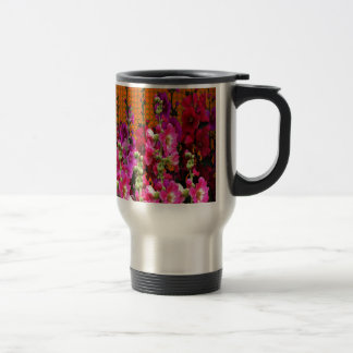 PINK HOLLYHOCK AMBER COLOR GARDEN TRAVEL MUG