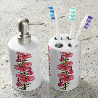 Pink Hollyhocks, Flowers, Oil Pastel Art Bathroom Set
