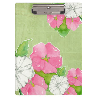 Pink Hollyhocks Watercolor Flowers Soft Green Clipboard