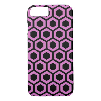 Pink honeycomb pattern on black iPhone 8/7 case