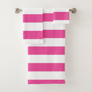 Pink Horizontal Stripes Bath Towel Set