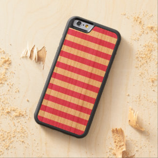 Pink Horizontal Stripes Carved Cherry iPhone 6 Bumper Case