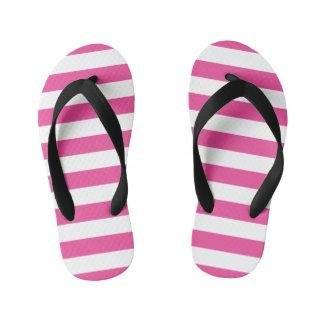 Pink Horizontal Stripes Kid's Thongs