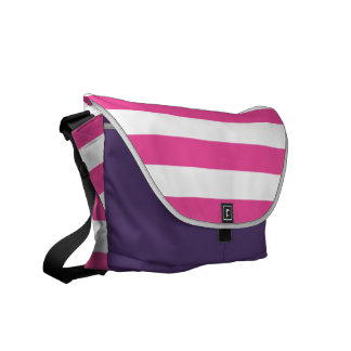 Pink Horizontal Stripes Messenger Bags