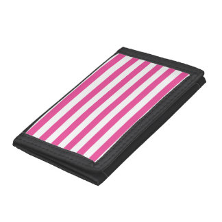 Pink Horizontal Stripes Trifold Wallet