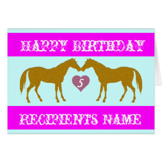 Pink Horse Age Birthday Card - Horse Age Card 5