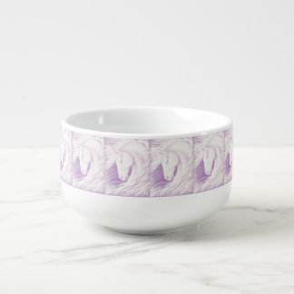 Pink Horse Collection Soup Bowl With Handle
