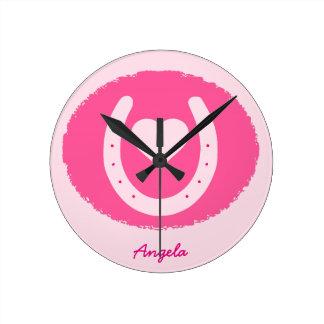 pink Horseshoe and Heart Round Clock
