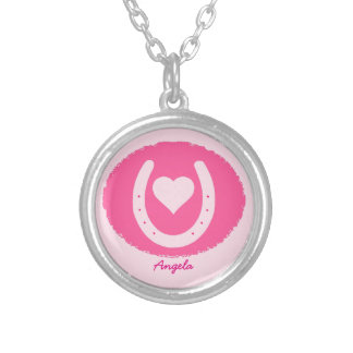 pink Horseshoe and Heart Silver Plated Necklace