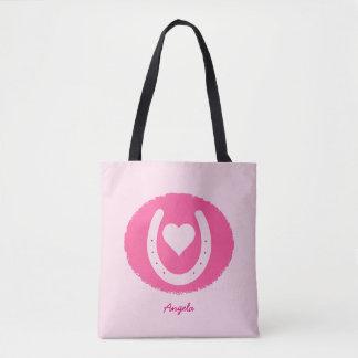 Pink Horseshoe and Heart Tote Bag