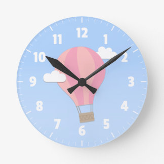 Pink Hot Air Balloon, Adventure Among the Clouds Round Clock