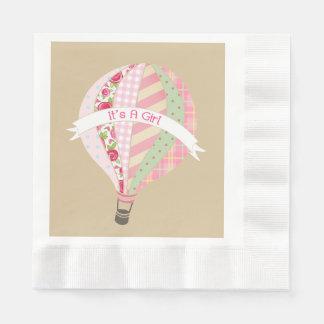 Pink Hot Air Balloon Girl Baby Shower Napkins Disposable Napkin