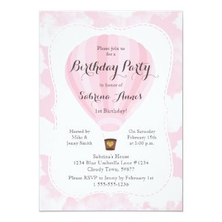 Pink Hot Air Balloon Girl Birthday party Card