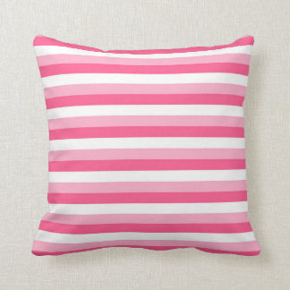 Pink, Hot Pink, and White Stripes Cushion