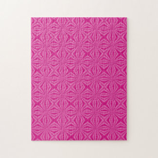 Pink Hot Squiggly Squares Jigsaw Puzzle