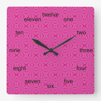 Pink Hot Squiggly Squares Square Wall Clock