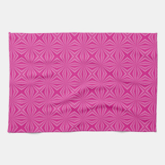 Pink Hot Squiggly Squares Tea Towel