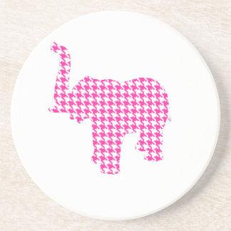 Pink Houndstooth Elephant Coaster