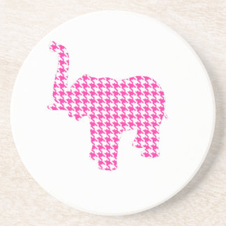 Pink Houndstooth Elephant Drink Coasters