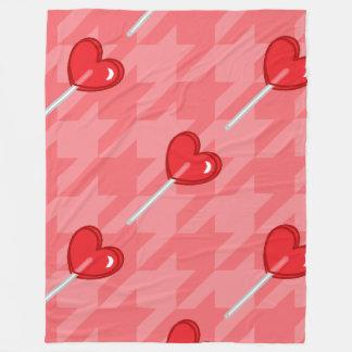 pink houndstooth heart lollipop blanket