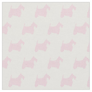 Pink Houndstooth Scotties Fabric