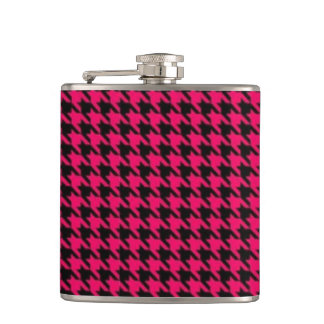 Pink Houndstooth Vinyl Wrapped Flask