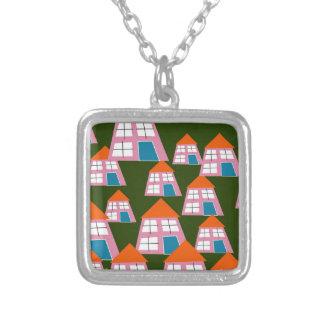 Pink Houses Silver Plated Necklace