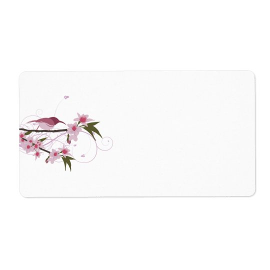 Pink Hummingbird and Flowers Shipping Labels