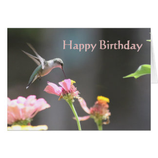 Pink Hummingbird Birthday Card (Blank) 21