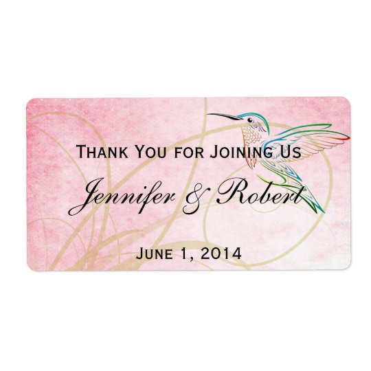 Pink Hummingbird Watercolor Water Bottle Label