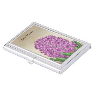Pink Hyacinth Floral Personalized Monogram Business Card Holder